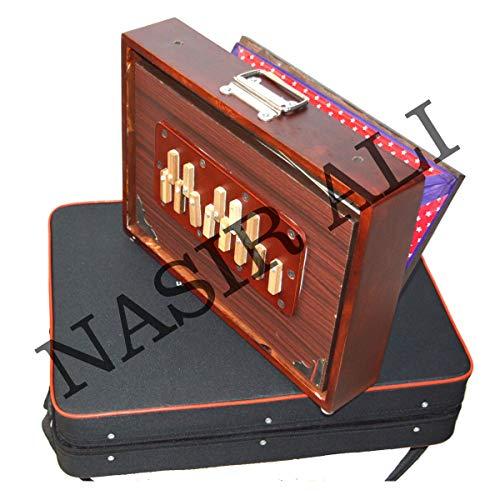 INDISCHE INSTRUMENTE, Shruti Box, groß (14 x 11 x 2,5) Zoll, Surpeti Surpeti, mit Tasche, ROTE FARBE, indisches Musikinstrument