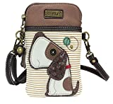 Chala Crossbody Cell Phone Purse - Women PU Leather Multicolor Handbag with Adjustable Strap - Dog - Brown Striped