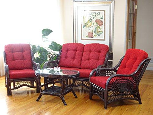 Malibu Rattan Wicker Living Room Set 4 Pieces 2 Lounge Chair Loveseat/sofa Coffee Table Dark Brown Red Cushions