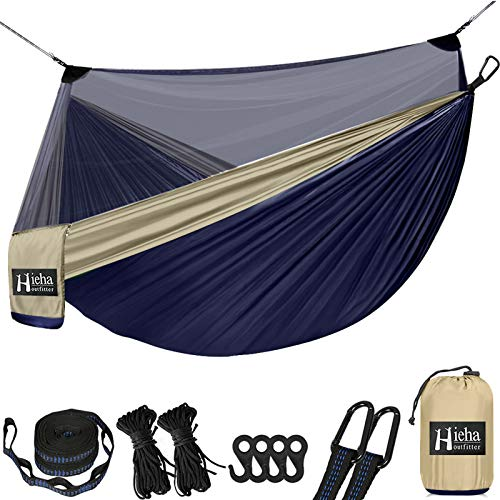 Hieha Double Camping Hammock with Net for 2 Adults, Portable Nylon Survival Travel Hammock w/Net, 9.8ft Tree Strap, Lightweight Parachute Indoor Outdoor Tree Hammock for Backpacking, Backyard, Hiking
