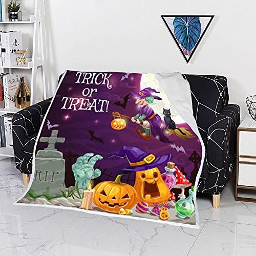 MBZHG Manta Lujo Cabeza De Calabaza De Miedo De Halloween Manta Lana Impresión 3D Manta Picnic Suave Y Cálida Colcha Manta Sofá Manta Adecuada para Adultos Y Niños 150 X 200cm