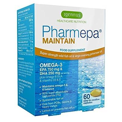 Pharmepa MAINTAIN omega-3 fish oil, super strength 1000mg omega-3 EPA & DHA per serving, pharmaceutical-grade fish oil & organic evening primrose oil with vit. D for heart health, brain function, 60 caps by Igennus Healthcare
