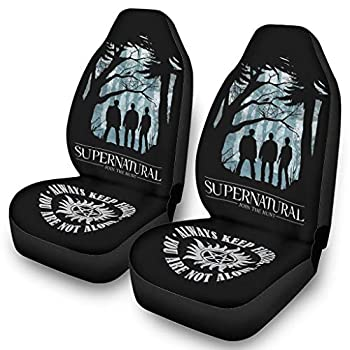 Car Seat Cover Protector Supernatural Dean Sam Castiel Funny Bucket Seat Protectors 2 Piece Universal Fit white onesize