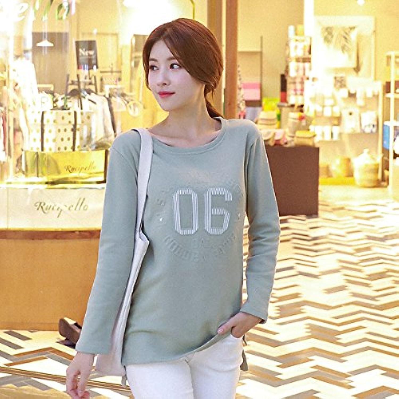 HY-Sweater Koreanische Version von Frauen Frauen Frauen in der Langen Seite der Taschenbuchstaben gedruckt Reparaturkörper Rundhals, grüne Bohnen, 2XL B0774W81D6  Fein wild 16e9d6