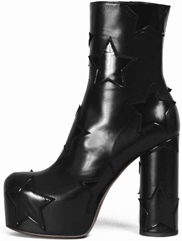 Wetkiss 2018 Mode kvinna Boot läder Ankle Booslips Star Star Star Tjock Heel Platform Boot kvinnor skor  spara upp till 70% rabatt