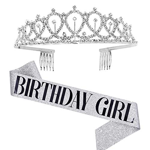 Tiara de cristal con corona de plata con banda de cumpleaños para...