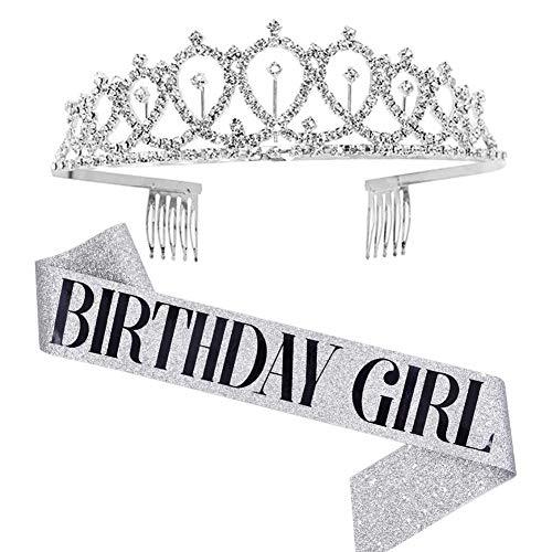 Corona d'argento Corona diadema di cristallo con fascia da ragazza di compleanno Accessori regalo per feste da compleanno Kit fascia da diadema con strass e decorazioni per feste Argento