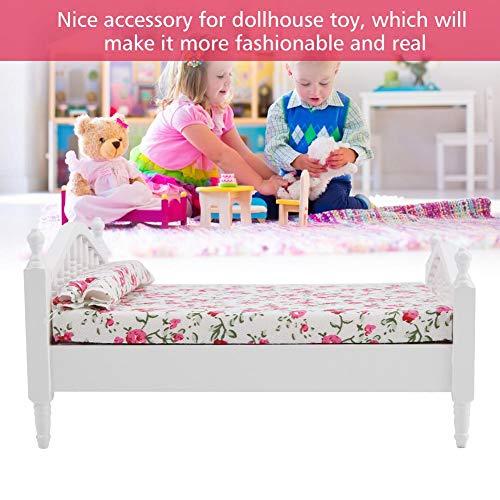 Nannday Puppenhaus Möbel, Puppenhaus Zubehör Blumenmuster Mini Möbel Doppelbett für 1/12 Maßstab Puppe für Kinder Spielzeug Puppenhaus DIY