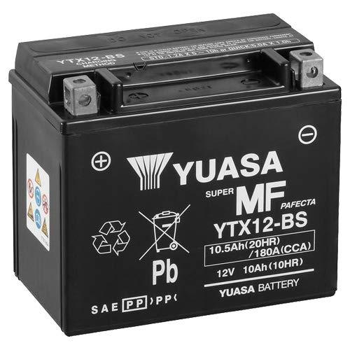 Batterie YUASA YTX12-BS (WC) AGM geschlossen, 12V|10Ah|CCA:180A (150x87x130mm) für Daelim Otello 125 FI Baujahr 2012