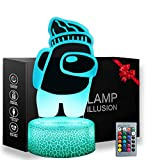 3D Among Us Toys Night Light, 16 Colors Table Lamp with Remote Control Kids Bedroom Decoration, Creative Lighting Perfect Souvenir Gifts for Christmas and Birthday Gifts