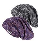 Qishare 2 piezas de gorro para dormir con forro de satén, gorro para el cabello, gorro colorido ajustable para dormir sin decoloración (Large, lino de algodón violeta + lino de algodón negro)