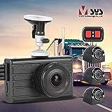Vsysto Dash Cam Backup Camera (1080P+VGA3) 3CH Waterproof Lens for Semi Truck/Bus/Trailer/Cars/Tractor/Van/RV DVR Recording System with G-Sensor, Loop Recording (Infrared Night Vision)