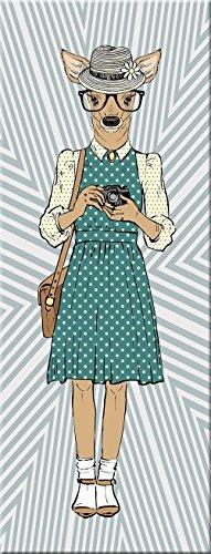 artissimo, Glasbild, 30x80cm, AG1889A, Girly Deer, Hipster, Hirsch, Bild aus Glas, Moderne Wanddekoration aus Glas, Wandbild Wohnzimmer modern