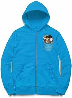 Fox Republic こねこ 子猫 ポケット オーシャンブルー キッズ パーカー シッパー スウェット トレーナー 110cm
