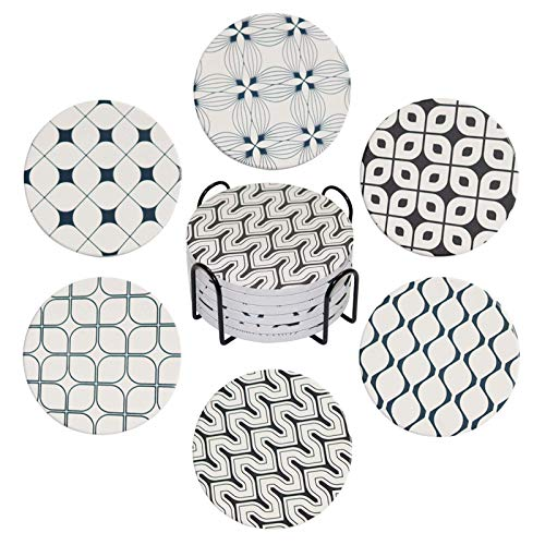 HLOVELH Coasters for drinks absorbent with Holder, Drinks coaster Set of 6, Stone coasters for Table Protection,Suitable for Kinds of Cups, Wooden Table,4 Inches