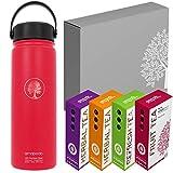 amapodo - Botella de agua de 600 ml, para beber té saludable, antigoteo, sin BPA, para niños, escuela, senderismo