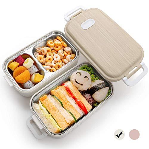 Bento Lunchbox, lunchbox, met roestvrij stalen bediende broodtrommel met 3 onderverdelingen, geschikt voor het lunch op de campus