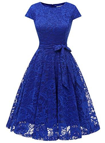 MuaDress 6008 Cocktailkleid Knielang Cape Ärmel Spitzen Brautjungfernkleid Floral Elegant Royalblau M