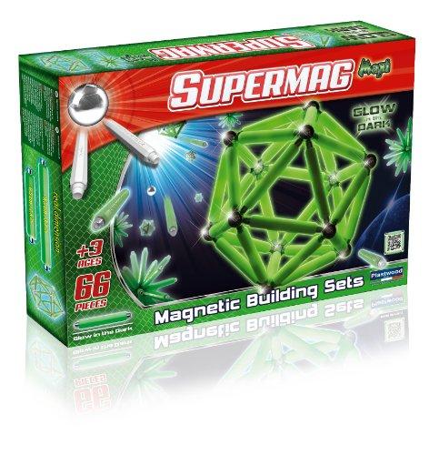 Supermag Toys- Maxi Glow 66 Gioco di Costruzioni Magnetico, 118