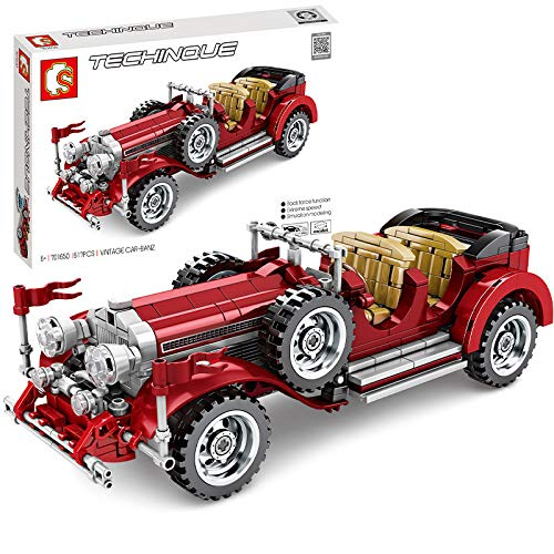Tisi Oldtimer-Bauset, Sammlerstück, Oldtimer-Modell, Bausteine Kompatibel mit Lego Technic, 617 Teile (Mercedes...
