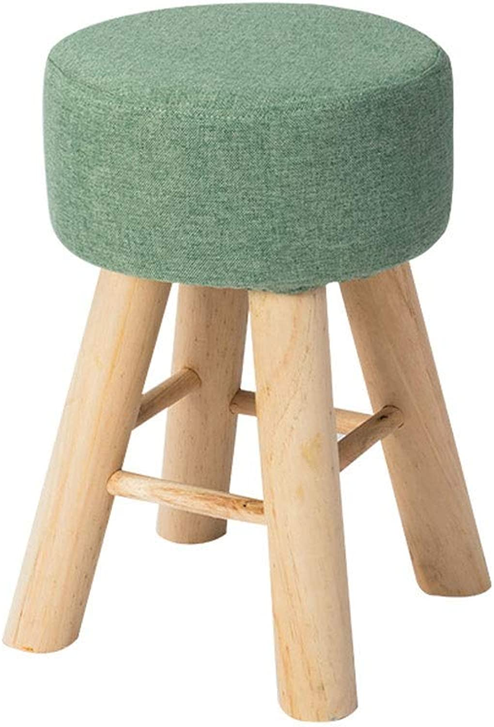 A+ Solid Wood Footstool,Small Bench for Home, Creative Small Chair, Fabric Round Makeup Stool High Rebound Sponge Filling Cushion - 28cmX28cmX43cm (color   Dark Green)