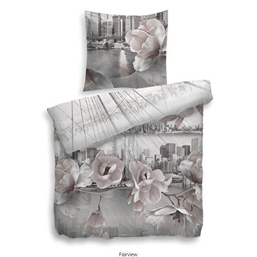 Heckett Lane Fairview Parure de lit réversible en Satin de Coton mako Gris 135 x 200 (80 x 80)