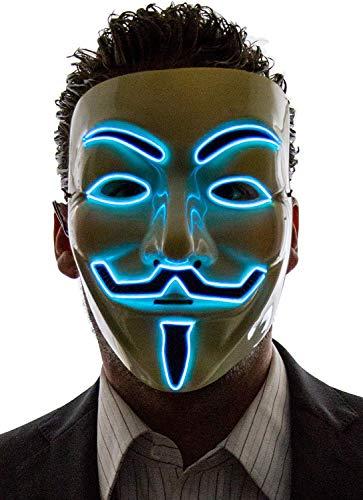 ¿Vintage? Máscara LED para disfraz de Vendetta de Guy Fawkes, Anonym, para Halloween, unisex, con alambre incandescente, Luz azul.