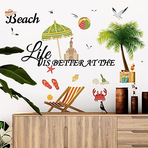 Pegatinas de pared de playa paisaje playa dormitorio sala de estar fondo decoración de pared pegatinas de coche