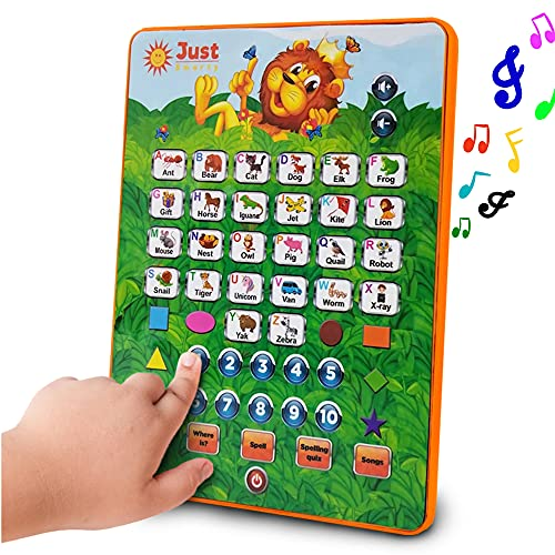 Just Smarty ABC Tablet Interactive Educational Toy for 3 Year Olds and Up | Toddler Learning Toys and Word Games for Development | Fun Activities, Numbers, Spell and Music on Pretend Kid Tablet