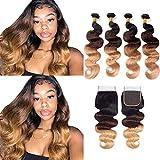 Ombre Brazilian Hair Body Wave 3 Tone Ombre Bundles Human Hair 14 16 18 20+14, Ombre Body Wave 4 Bundles with Closure Ombre Bundles Remy Hair Body Wave 1B/4/27 Color