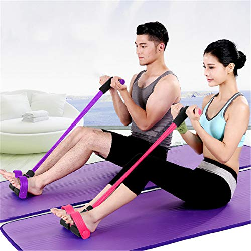 gracosy Upgrade 4 Tubes Pedal Resistance Band Elastisches Sit-up Pull Rope Bodybuilding Expander Multifunktions-Widerstandstraining Home Fitness Bauch Trainer Arm Bein Abnehmen Training Yoga Rosa