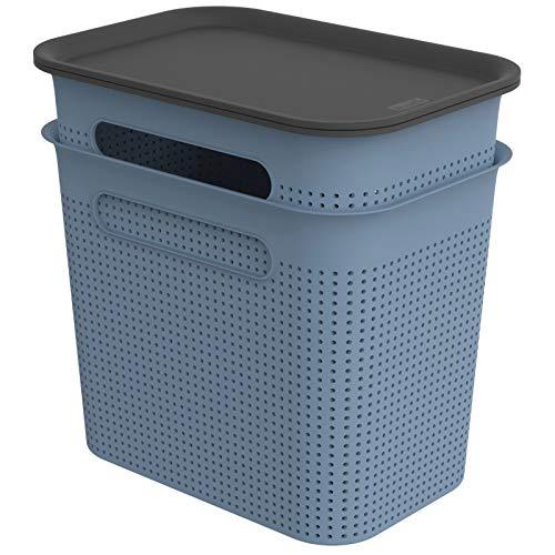 Rotho Brisen 2er-Set Aufbewahrungsbox Deckel, Kunststoff (PP recycelt), blau, 2X 7l, (26,6 x 18,5 x 26 cm), 2