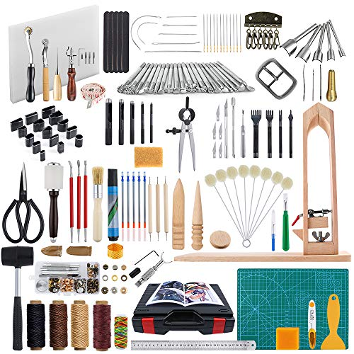 Caydo Leather Crafting Tools with Professional Instructions for Starters, Leather DIY Hand Stitching Tools with Sewing Pony, Prong Punch, Hole Hollow Punch, Matting Cut