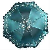 QNBD Diosa Al Aire Libre Falda Creativa Paraguas de Encaje Vinilo Protector Solar Paraguas Plegable Sombra Seis Colores HermosoRegaloAmarillo