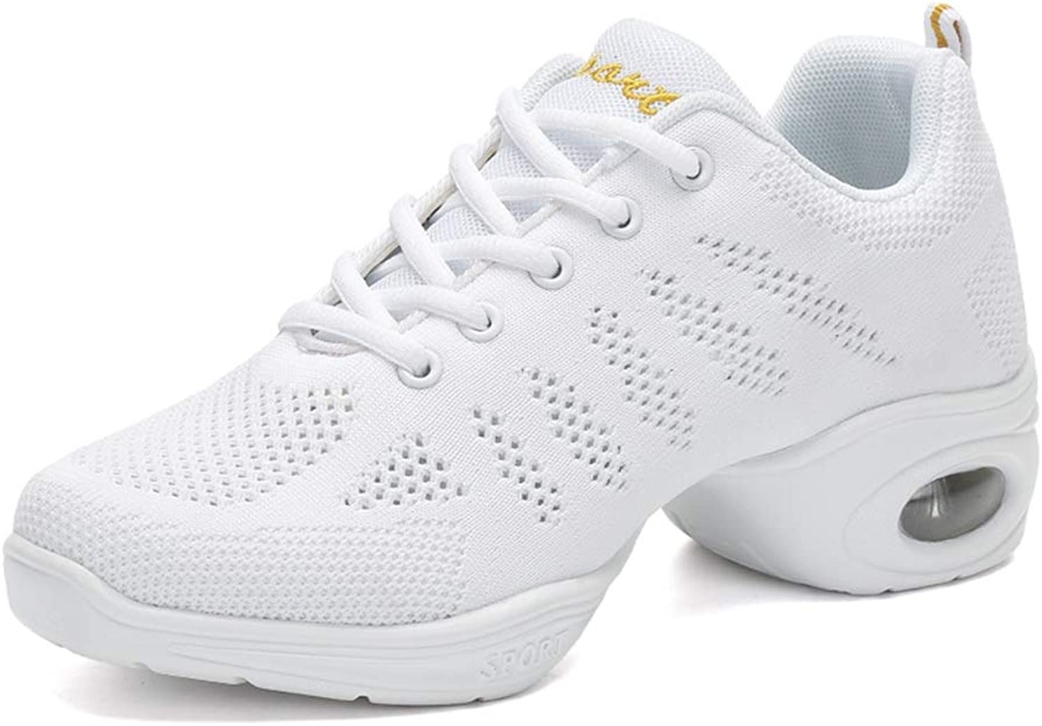 2019 Men Fashion Sneakers, Women's Breathable Weave Vamp Modern Performance Dance shoes Professional Lace Up Latin Tango Dance shoes (color   White, Size   5 D(M) US)