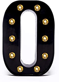 Foaky Black LED Marquee Letter Lights Sign 26 Alphabet Light Up Marquee Letters Sign for Night Light Wedding Birthday Party Battery Powered Christmas Lamp Home Bar Decoration (O)