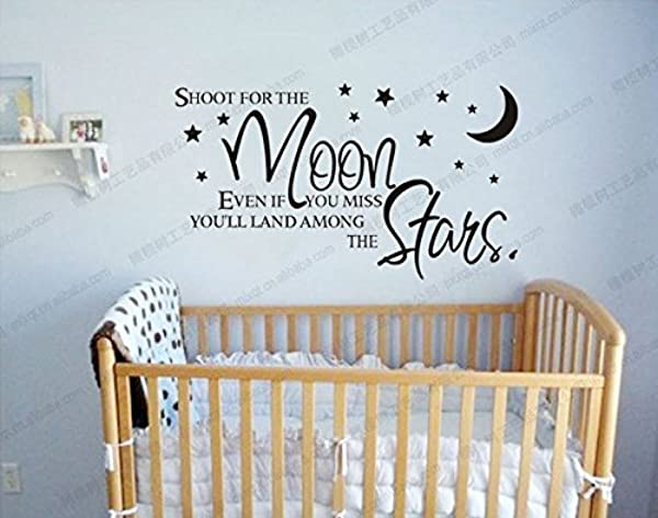 Shoot For The Moon Stars Wall Decals Vinyl Wall Decal Baby Nursery Wall Decor 20 5 W X 35 4 H Black