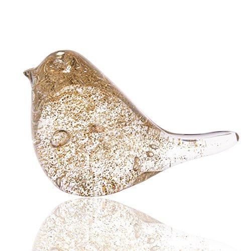 H&D Moderne Glasskulptur Kreative Skulptur Deko Skulptur Tier Skulptur aus Glas Champagner Farbe Vogel