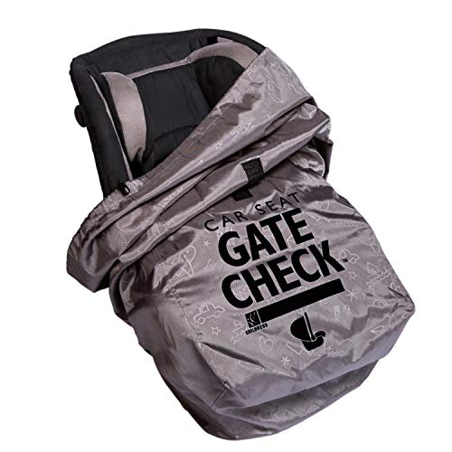 J.L. Childress DELUXE Gate Check Bag for Car Seats - Premium Heavy-Duty Durable Air Travel Bag, Backpack Straps - Fits Convertible Car Seats, Infant carriers & Booster Seats, Grey