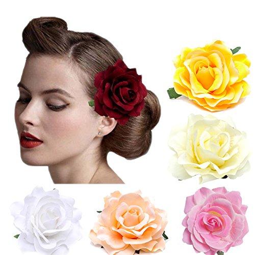 DRESHOW 5 Pack Fleur Broche Tête Ornement Mariée Femmes Rose Fleur Accessoires De Cheveux Pince À Cheveux De Mariage Danseuse De Flamenco