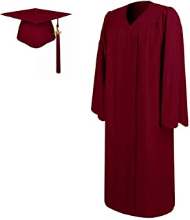 Matte Graduation Gown and Cap Tassel 2019,All Sizes for Adult