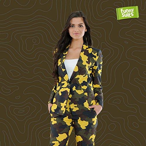Funnysuits Tarn Military Damen Anzug Camouflage Hide n Yellow 2-teiliger Anzug Kostüm EU Size 40