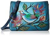 Anna by Anuschka Womens Genuine Leather Small Flap-Over Handbag | Cross Body Organizer | Lonesome Bird Denim,One Size