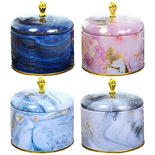 HEALLILY 4 Stücke Geschenkdose mit Deckel Duftkerze Kerzen Dose Metalldose Teedose Keksdose Vorratsdose Retro Blechdose für Spa Massage Hochzeit Teelichter Süßigkeiten Gewürze