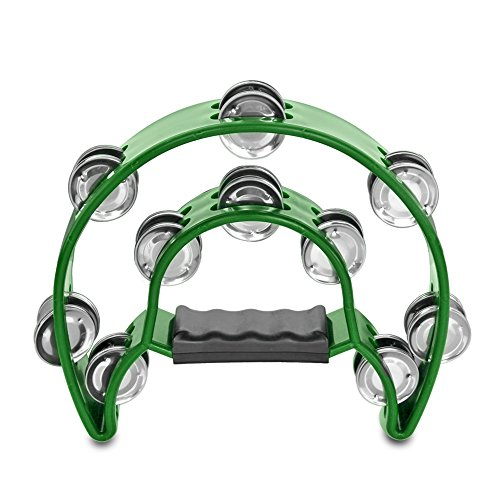 Flexzion Half Moon Musical Tambourine Green Double Row Metal Jingles Hand Held Percussion Drum for Gift KTV Party Kids Toy with Ergonomic Handle Grip