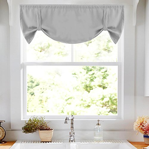 Lazzzy Valance 18 inch Grey for Kitchen Blackout Window Curtain Thermal Insulated Adjustable Tie Up Rod Pocket Drapes 1 Piece
