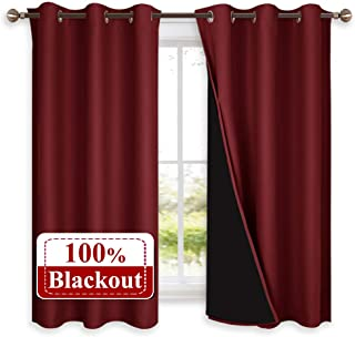 NICETOWN 100% Blackout Panels, Thermal Insulated Black Liner Curtains for Kitchen Room, Heat Blocking Drapes for Christmas Window Decoration (Set of 2, Burgundy Red, 42-inch Wide by 63-inch Long)