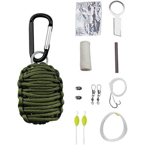 COM-FOUR ® para Cord Survival Kit in verde, Set di sopravvivenza per campeggio, arrampicata o altre attività all' aria aperta