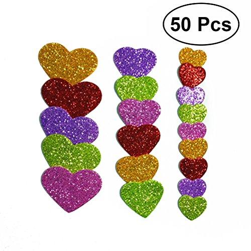 pour les enfants qui fabriquent dautres objets dartisanat TOOGOO paquet de 50 pcs mousse de paillettes en forme de coeur autocollant auto-adhesif mixte