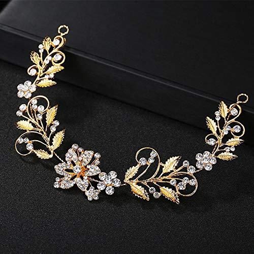 GLITZFAS bruiloft haarsieraad romantisch kristal bloem bruiloft haarband bruidssieraad hoofdtooi hoofdbanden voor dames en meisjes (goud)